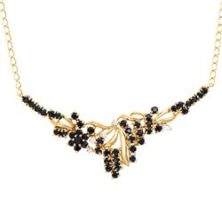 Plated 18KT Yellow Gold 3.25ctw Black Sapphire and Diamond Pendant with Chain