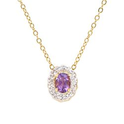 Plated 18KT Yellow Gold 0.65ct Amethyst and Diamond Pendant with Chain