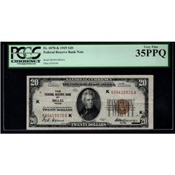 1929 $20 Dallas Federal Reserve Bank Note PCGS 35PPQ