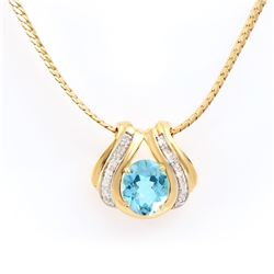 Plated 18KT Yellow Gold 6.00ct Blue Topaz and Diamond Pendant with Chain
