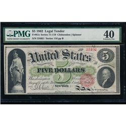 1862 $5 Legal Tender Note PMG 40