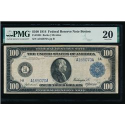 1914 $100 Boston Federal Reserve Note PMG 20