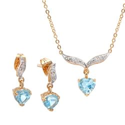 Plated 18KT Yellow Gold 3.10ctw Blue Topaz and Diamond Pendant with Chain and Earrings
