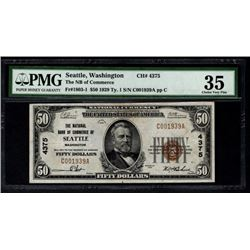 1929 $50 Seattle National Bank Note PMG 35