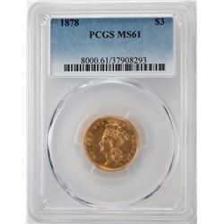1878 $3 Indian Princess Head Gold Coin PCGS MS61