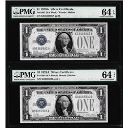 Lot of (2) Consecutive 1928A $1 Funnyback Silver Certificate Notes Fr.1601 PMG Choice Uncirculated 6