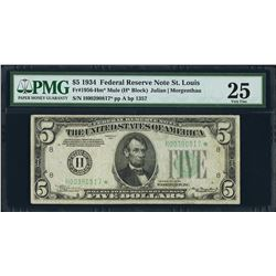 1934 $5 St Louis Federal Reserve STAR Note Dark Green Seal PMG 25