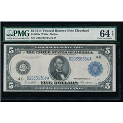 1914 $5 Cleveland Federal Reserve Bank Note PMG 64EPQ
