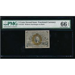 5 Cent Second Issue Fractional Currency Note PMG 66EPQ
