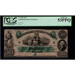 1861 $50 Confederate States of America Note PCGS 53PPQ