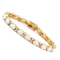 Plated 18KT Yellow Gold 9.10ctw Opal and Diamond Bracelet