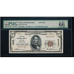 1929 $5 Pennsylvania National Bank Note PMG 66EPQ
