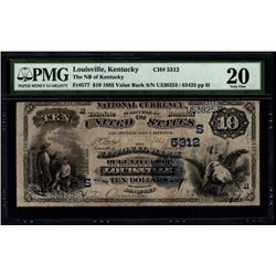 1882 $10 Louisville National Bank Note PMG 20