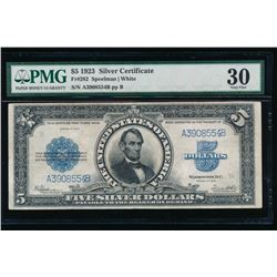 1923 $5 Lincoln Porthole Silver Certificate PMG 30