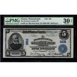 1902 $5 Delaware County National Bank Note PMG 30EPQ