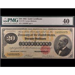 1882 $20 Gold Certificate PMG 40