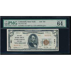 1929 $5 Cobleskill National Bank Note PMG 64EPQ