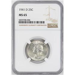 1941-D Washington Quarter Coin NGC MS65