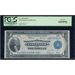 1918 $1 Cleveland Federal Reserve Note PCGS 65PPQ