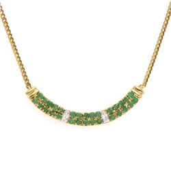 Plated 18KT Yellow Gold 2.01ctw Emerald and Diamond Pendant with Chain