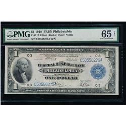 1918 $1 Philadelphia Federal Reserve Bank Note PMG 65EPQ