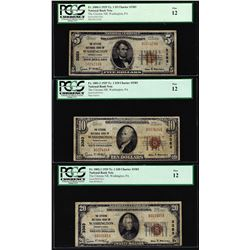 1929 $5/10/20 Citizens NB Washington, PA CH# 3383 National Currency Notes PCGS F12