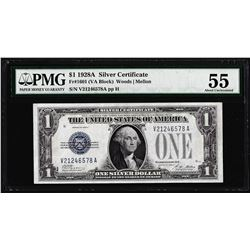 1928A $1 Funnyback Silver Certificate Note Fr.1601 PMG Choice About Uncirculated 55