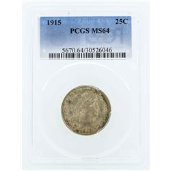 1915 Barber Silver Quarter Coin PCGS MS64