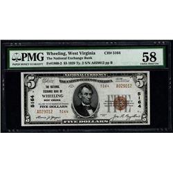 1929 $5 Wheeling National Bank Note PMG 58