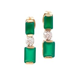 Plated 18KT Yellow Gold 2.50ctw Green Agate and Diamond Earrings
