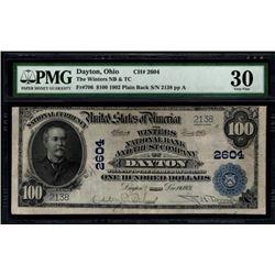 1902 $100 Dayton National Bank Note PMG 30
