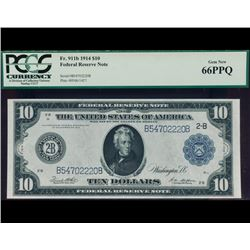 1914 $10 New York Federal Reserve Note PCGS 66EPQ