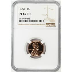 1951 Proof Lincoln Wheat Cent Coin NGC PF65RD