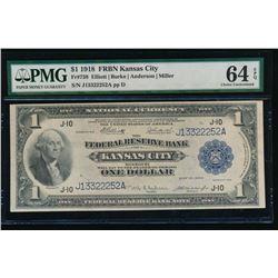 1918 $1 Kansas City Federal Reserve Bank Note PMG 64EPQ