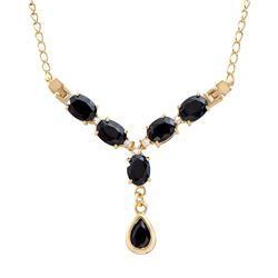 Plated 18KT Yellow Gold 9.10ctw Black Sapphire and White Topaz Pendant with Chain