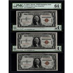 1935A $1 Consecutive Hawaii Silver Certificates PMG 64EPQ