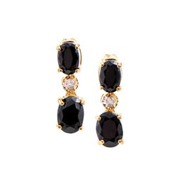 Plated 18KT Yellow Gold 3.30ctw Black Sapphire and Diamond Earrings