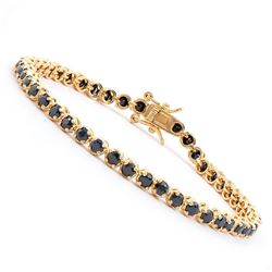 Plated 18KT Yellow Gold 6.45ctw Black Sapphire and Diamond Bracelet