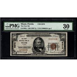 1929 $50 Miami National Bank Note PMG 30