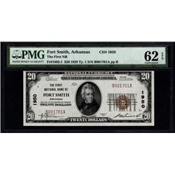 1929 $20 Fort Smith National Bank Note PMG 62EPQ