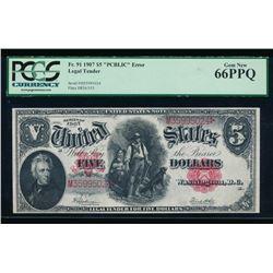 1907 $5 Legal Tender Note PCGS 66PPQ