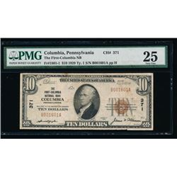 1929 $10 Columbia National Bank Note PMG 25