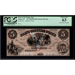 1800's $5 Bank of the Empire State Note PCGS 63