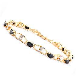 Plated 18KT Yellow Gold 6.50ctw Black Sapphire and Diamond Bracelet