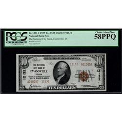 1929 $10 Evansville National Bank Note PCGS 58PPQ