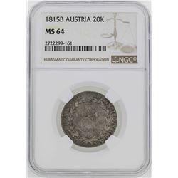 1815-B Austria 20 Kreuzer Coin NGC MS64