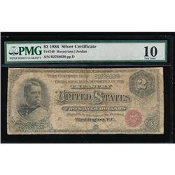 1886 $2 Silver Certificate PMG 10