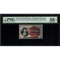 10 Cent Fourth Issue Fractional Note PMG 58EPQ