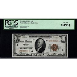 1929 $10 Chicago Federal Reserve Bank Note PGCS 65PPQ