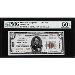 1929 $5 First NB of Oakland, MD CH# 5623 National Note PMG About Uncirculated 50EPQ